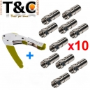 PACK CRIMP RG + 10 CONECTORES RG 6